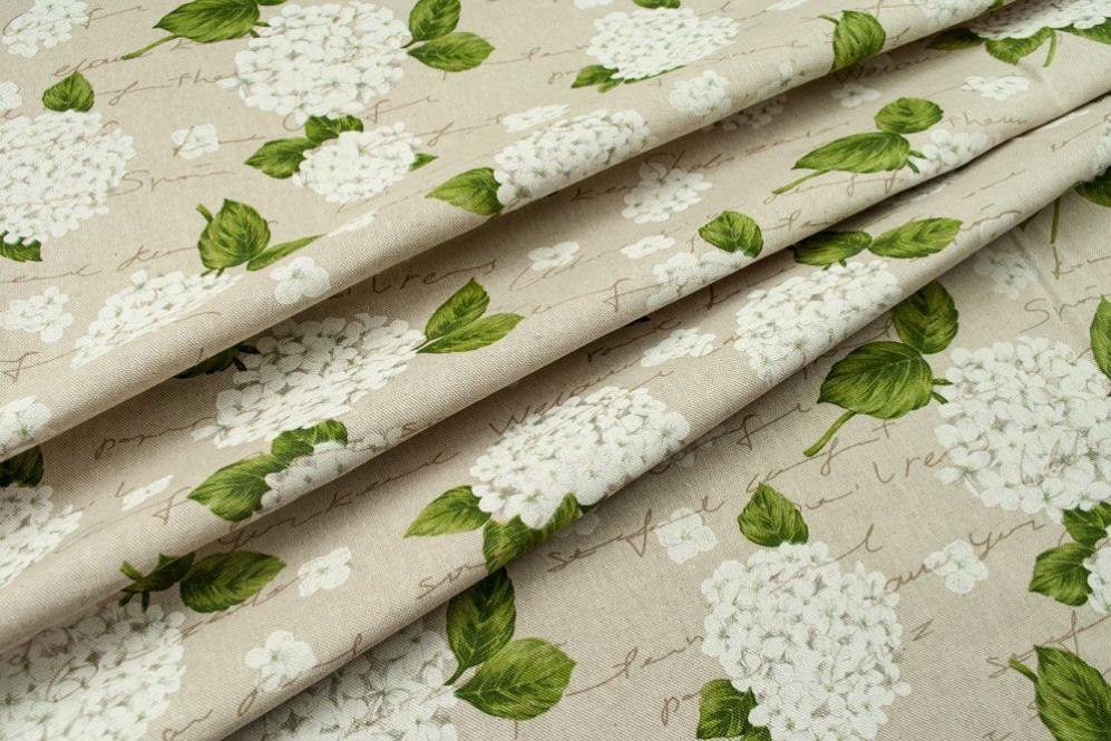 Dekostoff - weiße Hortensien