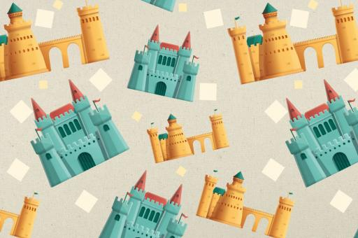 Zeltstoff mit türkisfarbigen und sandfarbigen Burgen bedruckt