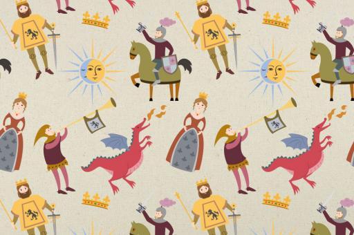 Zeltstoff mit Rittern, Drachen und Prinzessinnen bedruckt