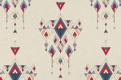 Indigenes Ethno-Muster auf naturfarbigem Zeltstoff