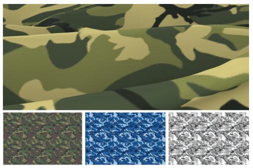 Trevira CS mit Tarnmuster in naturnahen Farben