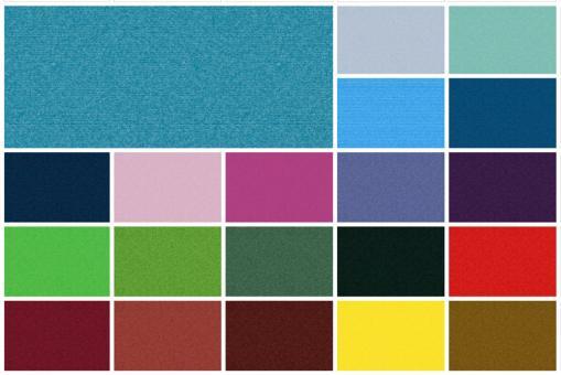 Farbtafel mit 20 Varianten für den Wärmevorhangstoff Trend