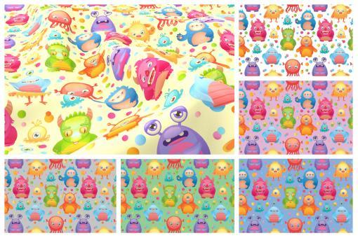 Lustige und bunte Aliens auf einfarbigem Hintergrund