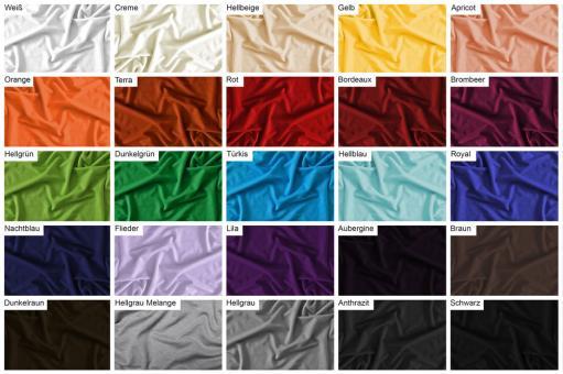 Farbtafel mit Viskosejerseys in verschiedenen Farben