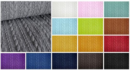 Sweatshirt-Stoffe mit Zopfmuster in verschiedenen Farben