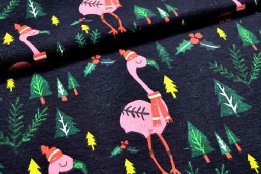 Bunter Jersey-Stoff mit lustigen Flamingos