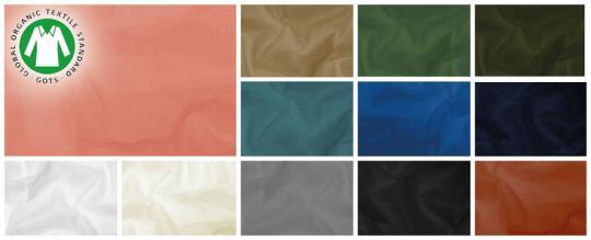 Farbtafel für den Baumwoll-Batist mit dem GOTS-Siegel