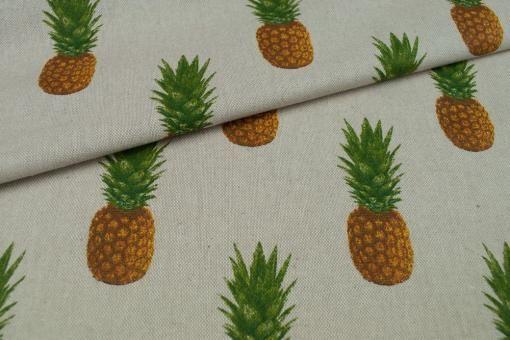 Dekostoff in Leinen-Optik mit tollem Ananas-Motiv