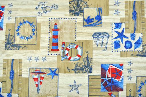 Tischdeckenstoff mit maritimen Motiven